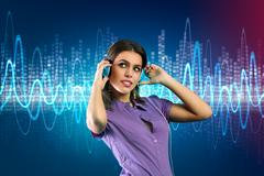 woman with headphone listening to music - stock illustration
