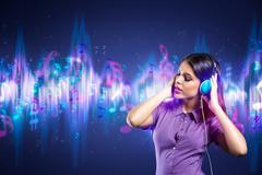 woman enjoying in music - stock illustration