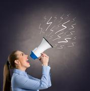 Leader woman  shouting into megaphone Stock Illustration