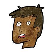 cartoon unhappy face - stock illustration