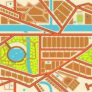 Seamless city map Stock Illustration