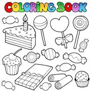 Coloring book candy and cakes Stock Illustration
