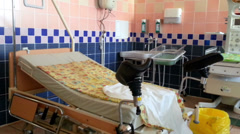 RUSSIA, OREL - 02 JUNE 2014: Panorama of delivery room in prenatal  center Stock Footage