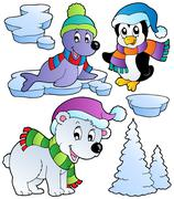 Wintertime animals collection  - stock illustration
