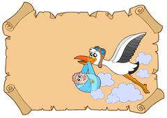 Baby congratulation with stork - stock illustration