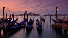 Gondolas in Venice, time lapse Stock Footage
