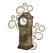 cartoon dusty old grandfather clock - stock illustration