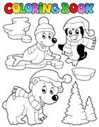 Coloring book wintertime animals  - stock illustration