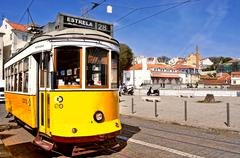 Stock Photo of typical tram 28 in alfama district in lisbon, portugal