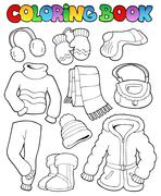 Stock Illustration of Coloring book winter apparel