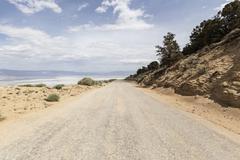 horseshoe meadow road above owens dry lake - stock photo