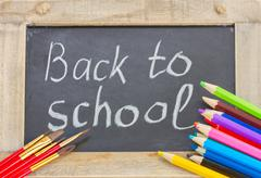 Black board with back to school Stock Photos