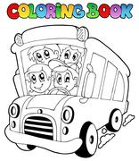 Coloring book with bus and children - stock illustration