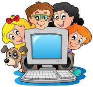 Computer with cartoon kids and dog - stock illustration