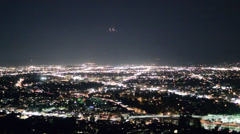 Los Angeles Night, Airplane Flying By, Valley with Lights - stock footage