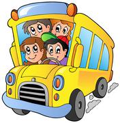 School bus with happy children - stock illustration