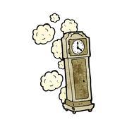 cartoon old grandfather clock - stock illustration