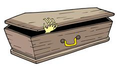 Coffin with waving hand - stock illustration