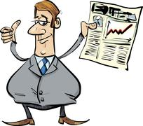 Satisfied businessman with newspaper - stock illustration