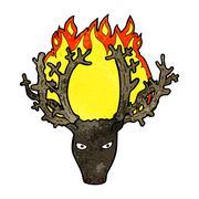 cartoon stag head fire symbol - stock illustration