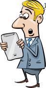 Startled businessman with tablet Stock Illustration