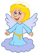 Boy angel on cloud Stock Illustration