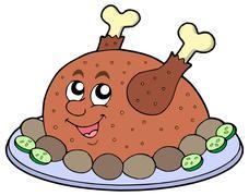 Cartoon roast meat Stock Illustration