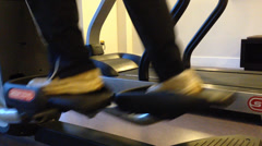 Man in the gym, treadmill close up shot Stock Footage