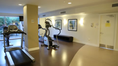 Fitness room shot from right to left Stock Footage