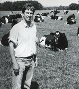 Stock Photo of Newbury district farmer with herd, 1980s