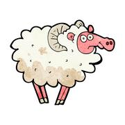 cartoon dirty sheep - stock illustration