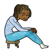 Cartoon crying woman Stock Illustration