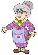 Granny with spoon Stock Illustration