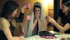 Bachelorette party, woman gets sexy gifts from her friends HD. Stock Footage