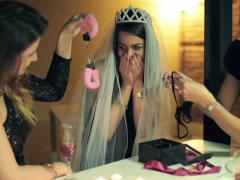 Bachelorette party, woman gets sexy gifts from her friends NTS Stock Footage