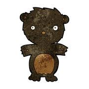 Stock Illustration of cartoon happy little black bear