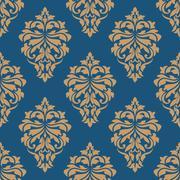 elegance floral damask seamless pattern - stock illustration