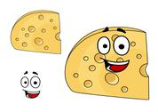 Stock Illustration of piece of cheese with holes and a smiling face
