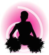 eps 10 vector illustration of funky cheerleader silhouette - stock illustration