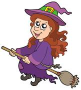 Cute witch flying on broom - stock illustration