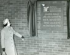 Queen Elizabeth 11 opens Shire Hall, Berkshire, 1982 - stock photo