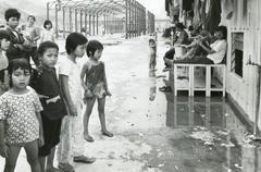 Vietnam refugees, Hong Kong, 1980s  - stock photo