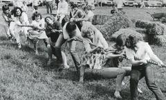 Tug of war, agricultural show, 1980s - stock photo