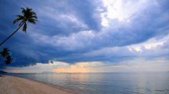 Sandy Beach with Coconut Palms and Impressive Sky. Stock Footage