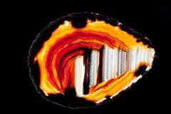 Agate quartz silica gem semi-translucent slice Stock Photos