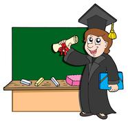 Stock Illustration of Graduate student with blackboard