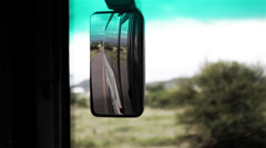 Rear View Mirror of Bus Stock Footage