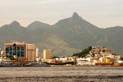 Rio de Janeiro as seen from a boat on Baia de Guanabara Stock Photos