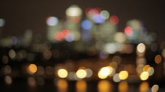Canary Wharf  Isle of Dogs at Night from Greenwich Stock Footage