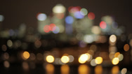 Stock Video Footage of Canary Wharf  Isle of Dogs at Night from Greenwich